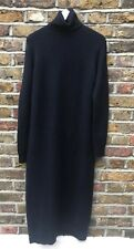 ZARA NAVY BLUE BLACK  POLO ROLL NECK PENCIL MIDI JUMPER DRESS SIZE S