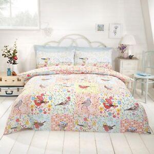 Patchwork Reversible Birds & Floral Duvet Quilt Cover Bedding Set + Pillowcases