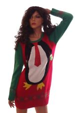 Womens PENGUIN Ugly Christmas Sweater Party Dress Sequin Animal Medium 5 7 9 NEW