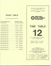 British Columbia Railway BCOL 1984 Employee Timetable #12