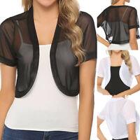 Women Chiffon Short Sleeve Shrug Open Front Bolero Lady Cardigan Mini Tops Shirt