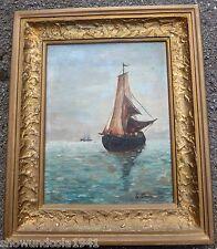Altes Gemälde mit Segelschiff im Prunkrahmen mit Signatur