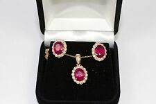 14k Rose Gold Oval Red Ruby And White Diamond Halo Pendant and Earrings