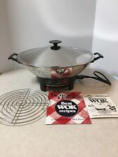 West Bend Electric Wok 80006 Stainless Steel Vintage Tested! Works Great!