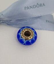 "Authentic Pandora 14k 14ct Gold Murano Glass ""Blue Lotus"" Charm 750506 - Retired"