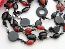 """19"""" 4Strands Pearl Onyx Agate Necklace"""