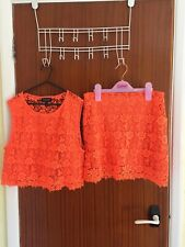 STUNNING GENUINE LADIES TOP SHOP NEON ORANGE TWO PIECE OUTFIT IN SIZE 10