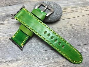 Apple Watch 44mm 40mm Apple watch band series 4 3 2 Green Leather FREE SHIPPING