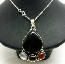 "Onyx Multi Gems Fine Sterling Silver 925 Necklace 20g 15.75"" KWD911"