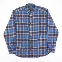 Vintage WOOLRICH Blue Check Flannel Long Sleeve Shirt Size Men's Large