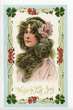 Beautiful Woman with Peacock Feather Earring ART NOUVEAU Antique PC Girl 1910s