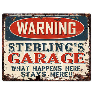 PPFG0540 WARNING STERLING'S GARAGE Tin Chic Sign Home man cave Decor Funny Gift