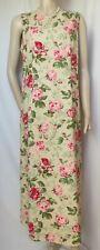 Laura Ashley vestido de verano 42 44 rosas flores rosa verde lino algodón boda