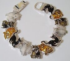 ARTICULATED MULTI COLOR CATS CAT BRACELET SILVER BLACK GRAY ORANGE KITTY KITTENS