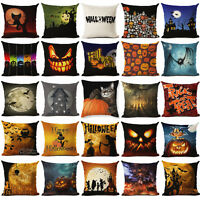 Halloween Pumpkin Cotton Linen Throw Pillow Case Cushion Cover Home Sofa Decor