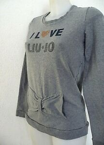 pull ♥ LIU JO ♥ taille XS 34 36 / T 16 ans sweat gris strass junior ado