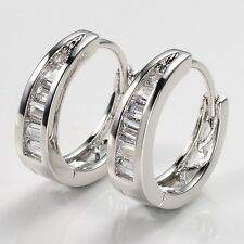 Women Earrings BlingBling 18k White Gold Filled Luxury Gift Hoops Vogue Jewelry