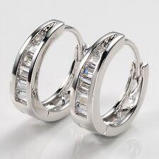 Women Earrings BlingBling 18k White Gold Filled Luxury Gift Hoops Vogue Jewelry