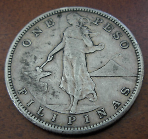 Philippines 1908 S Silver 1 Peso Circulated US Administration