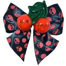 Kreepsville 666 Cherry Skull Hair Bow Slide Polka Dot Red Gothic