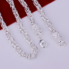 """925 Sterling Silver Filled 5MM Twisted Rope Solid Charm Necklace 20"""""""