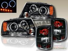 2004-08 FORD F150 DUAL HALO BLACK PROJECTOR HEADLIGHTS LED + BLACK TAIL LIGHTS