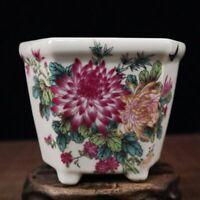Chinese old porcelain Pastel flower pattern flower pot