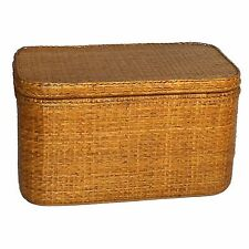 Classic Rattan Wicker Storage Trunk Chest with Tray Shelf and Lid