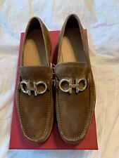 New Auth Salvatore Ferragamo Rolo Men Brown Suede Bit Loafer Reversible 11 $795