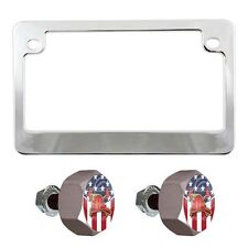 Chrome Motorcycle License Plate Frame & Grey Hex Tag Bolt Kit - Fire Fighter U