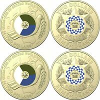 1x 75th anniversary of world war2 and police remembrance coloured UNC 2$ coin.