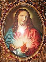 Ancien tableau lumineux religieux-verre bombé-Sacré Cœur de l'Enfant Jésus