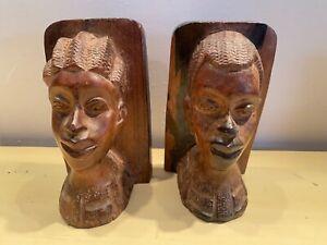 Wood Wooden Pair of Bookends Africa African Man Woman Sculpture Design