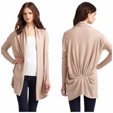BCBG MAXAZRIA Women's Cinched Back Cardigan Size M Beige Silk Cotton Rayon 1002