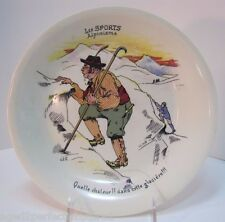 Antique 'Les Sports - Alpinisme' Plate alpine mountain climbing Boch La Louviere
