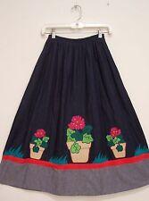 Vintage FLOWER POT APPLIQUE Blue DENIM Hippie Peasant Western Rockabilly Skirt S