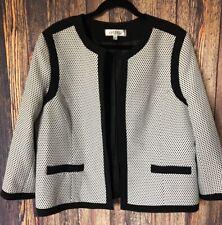 Kasper Career Suit  Blazer Jacket Black & White Woman's Size 18
