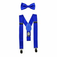 NEW Royal Blue Kids Baby Suspenders and Bow Tie Set Elastic Adjustable