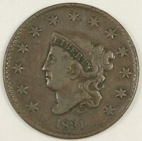 1831 Coronet Head Large Cent, Medium Letters. Newcome-2. Choice VF.  RAW3902/JBE