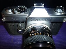 Vintage Canon TL QL SLR Camera Body W/Yashinon DS-M 50mm Lens & Case New Battery