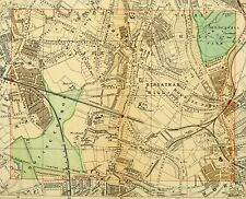 1891 VICTORIAN MAP STREET PLAN LONDON STREATHAM HILL HOSPITAL TOOTING COMMON