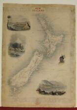 NEW ZEALAND 1851 JOHN TALLIS & JOHN RAPKIN ANTIQUE ORIGINAL STEEL ENGRAVED MAP