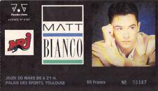 ticket billet used stub place concert MATT BIANCO 1986 Toulouse FRANCE
