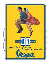 Calendrier  perpétuel  VESPA Couple sur fond jaune