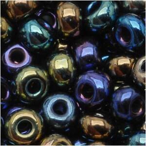 Czech Glass Seed Beads, 6/0 Round, 1 Ounce, Metallic Iris Blue Mix