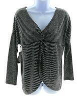 Harvé Benard Womens Black and Gray Stripe V Neck Long Sleeve Top Casual