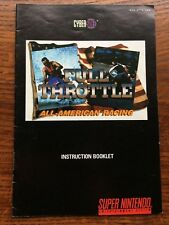 Full Throttle All America Racing SNES Super Nintendo Instruction Manual Only