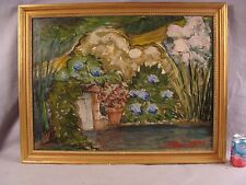 Antique Oscar Gieberich Garden w/ pond o/c landscape painting
