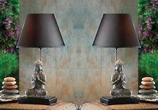 Set of 2 Modern Contemporary Sitting Buddha Figurine Table Lamps Asian Decor
