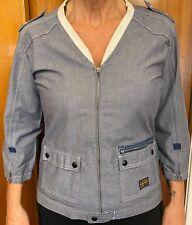 G-Star Lightweight Denim Jacket Top Zip Shirt - Womens Size Large Ladies